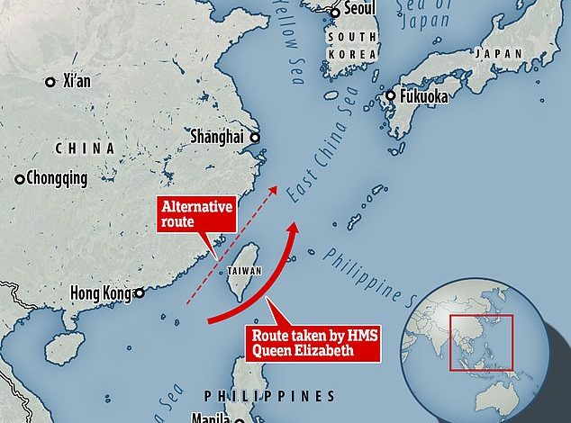 Too scared to offend China: Royal Navy's new carrier 'will avoid the Taiwan Strait on maiden voyage'