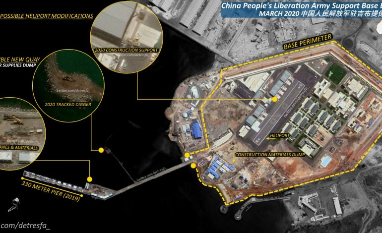 Why is the US concerned about China's naval base in Djibouti?